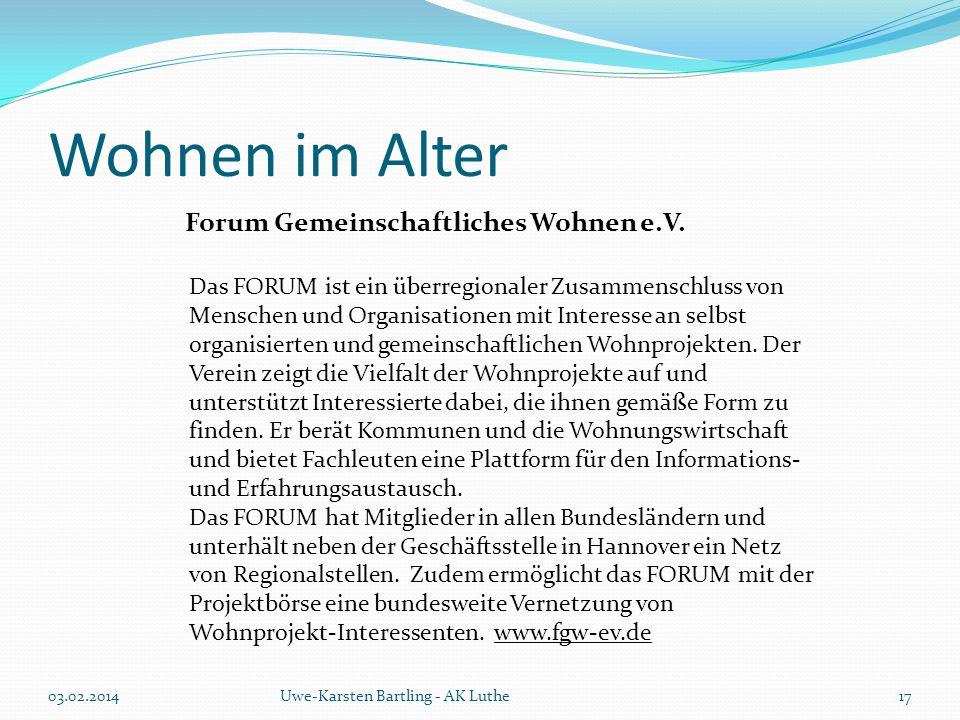 Wohnen im Alter Forum Gemeinschaftliches Wohnen e.V.