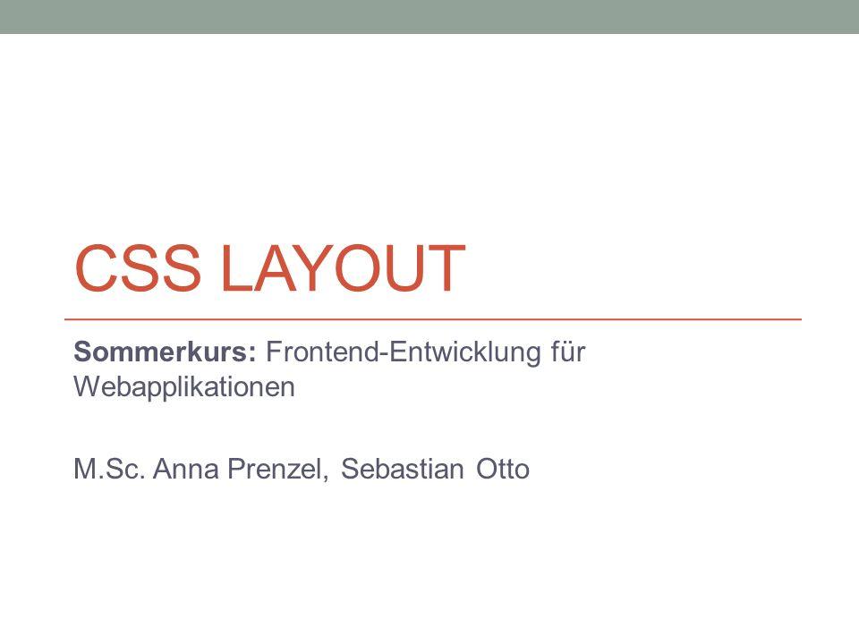 CSS Layout Sommerkurs: Frontend-Entwicklung für Webapplikationen
