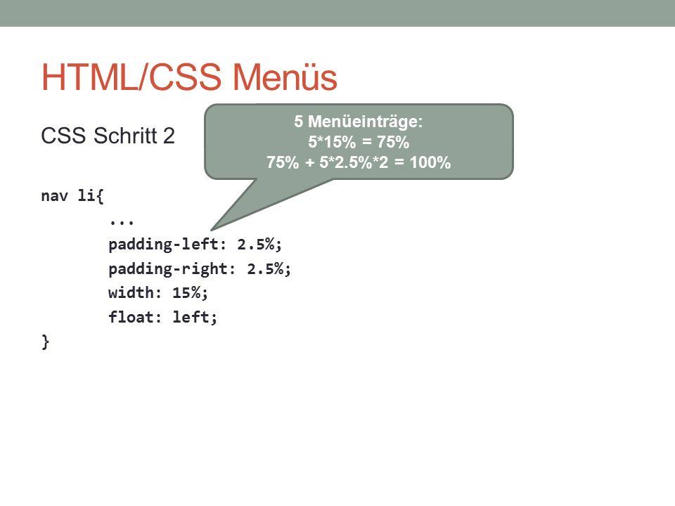 HTML/CSS Menüs CSS Schritt 2 5 Menüeinträge: 5*15% = 75%