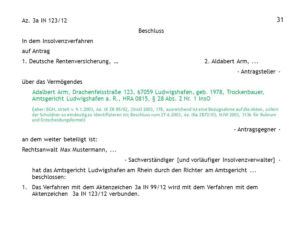 31 Az. 3a IN 123/12 Beschluss In dem Insolvenzverfahren auf Antrag