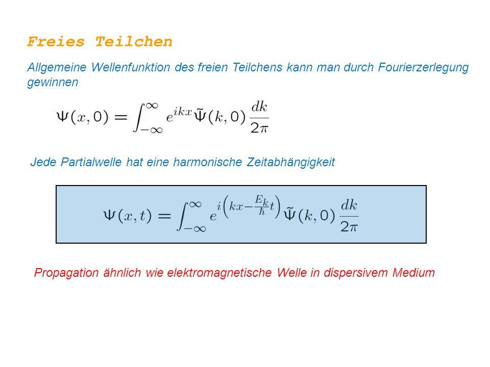 Freies Teilchen Allgemeine Wellenfunktion des freien Teilchens kann man durch Fourierzerlegung gewinnen.