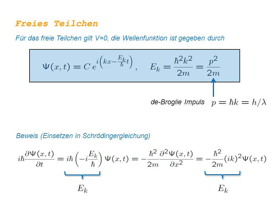 Freies Teilchen Für das freie Teilchen gilt V=0, die Wellenfunktion ist gegeben durch. de-Broglie Impuls.