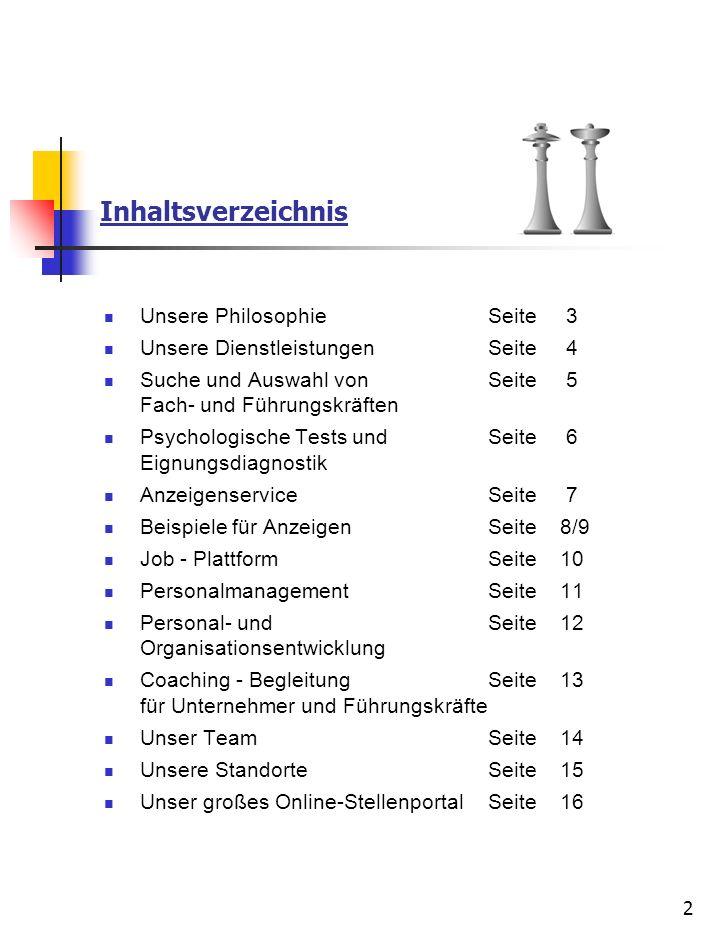 Inhaltsverzeichnis Unsere Philosophie Seite 3