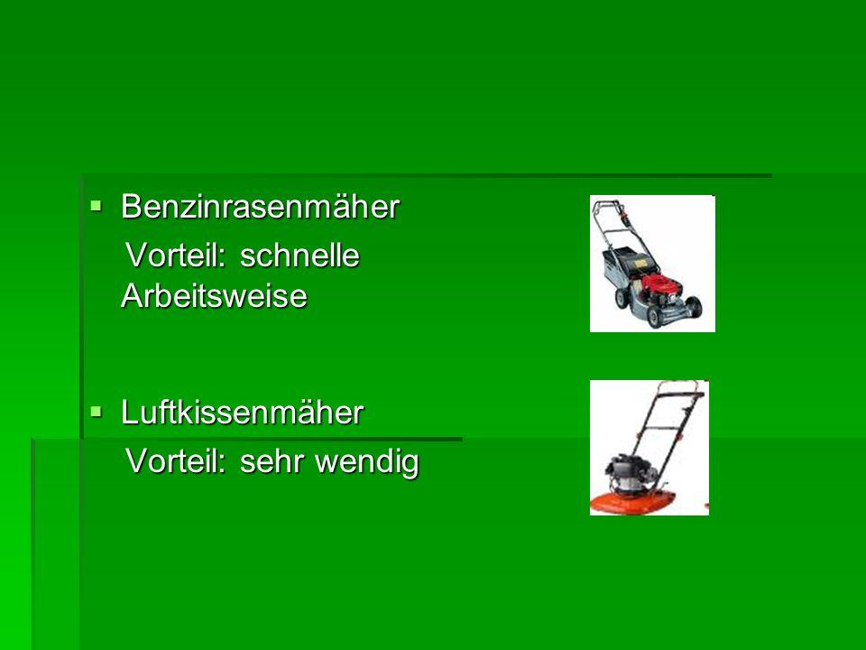 Benzinrasenmäher Vorteil: schnelle Arbeitsweise Luftkissenmäher Vorteil: sehr wendig