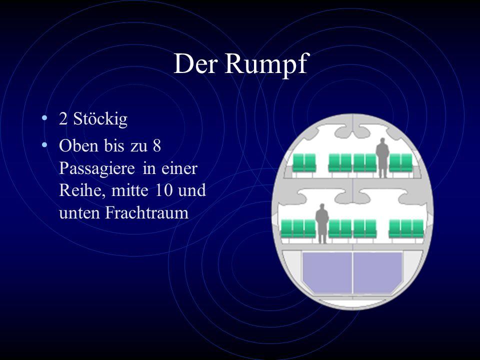 Der Rumpf 2 Stöckig Oben bis zu 8 Passagiere in einer Reihe, mitte 10 und unten Frachtraum