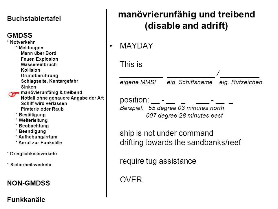 manövrierunfähig und treibend (disable and adrift)