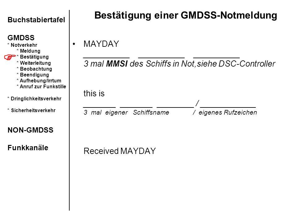 Bestätigung einer GMDSS-Notmeldung