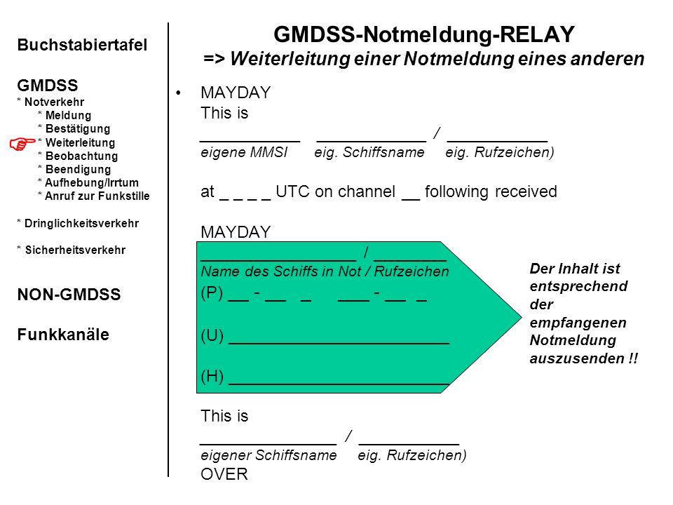 GMDSS-Notmeldung-RELAY => Weiterleitung einer Notmeldung eines anderen