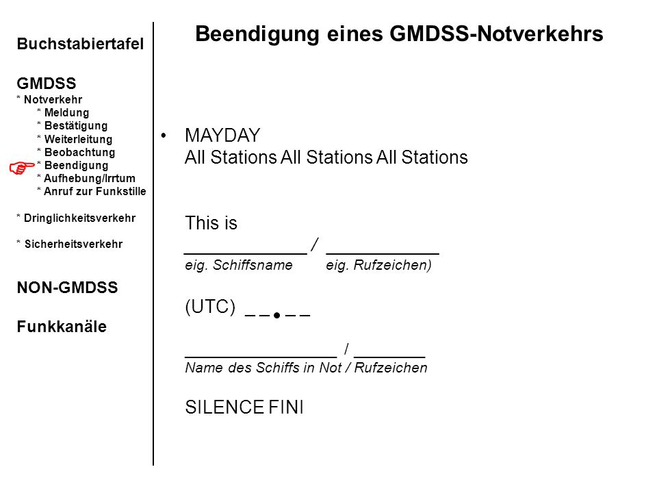 Beendigung eines GMDSS-Notverkehrs