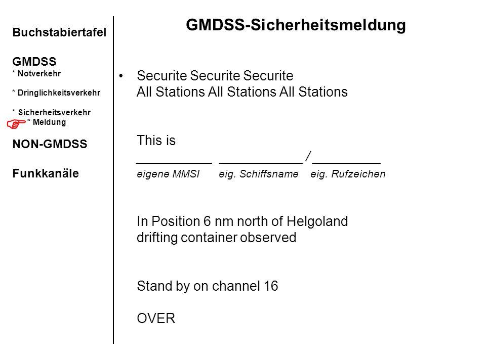 GMDSS-Sicherheitsmeldung