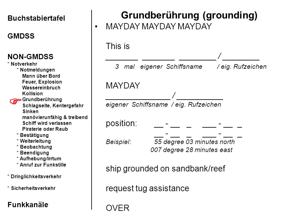 Grundberührung (grounding)