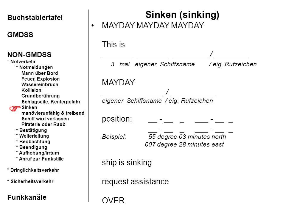 Sinken (sinking)