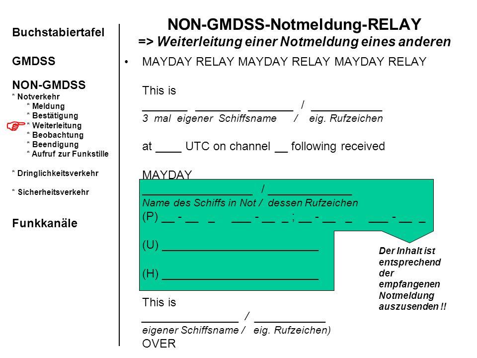 NON-GMDSS-Notmeldung-RELAY => Weiterleitung einer Notmeldung eines anderen