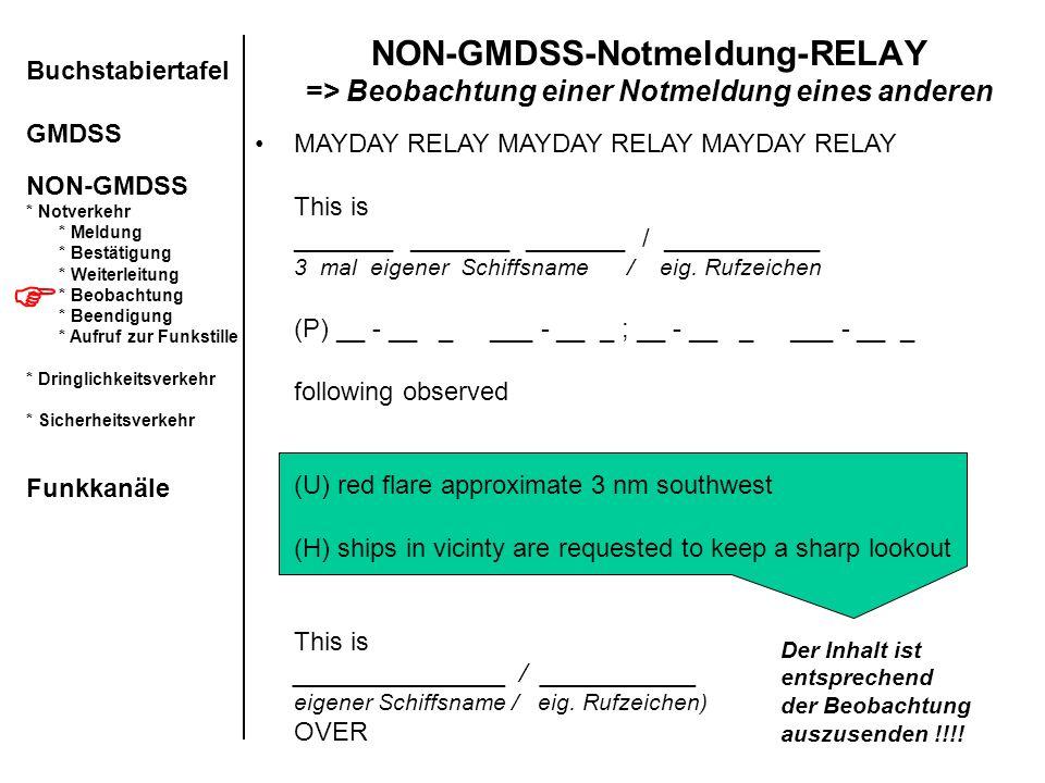 NON-GMDSS-Notmeldung-RELAY => Beobachtung einer Notmeldung eines anderen