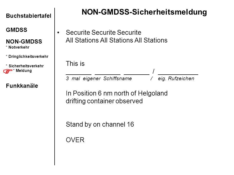 NON-GMDSS-Sicherheitsmeldung