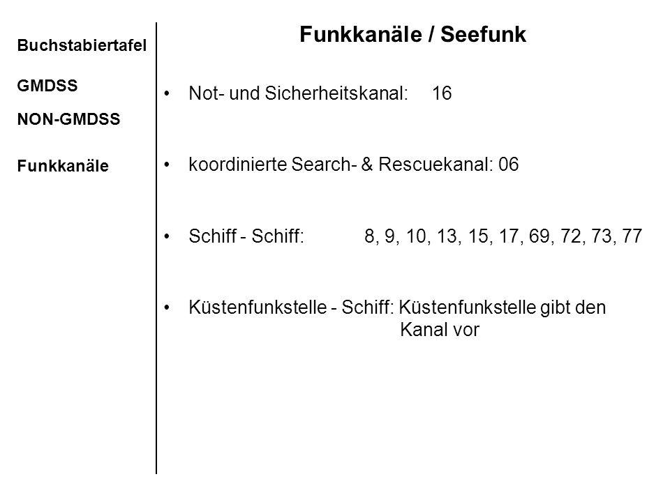 Funkkanäle / Seefunk Not- und Sicherheitskanal: 16