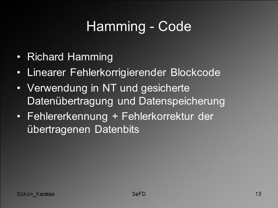 Hamming - Code Richard Hamming Linearer Fehlerkorrigierender Blockcode