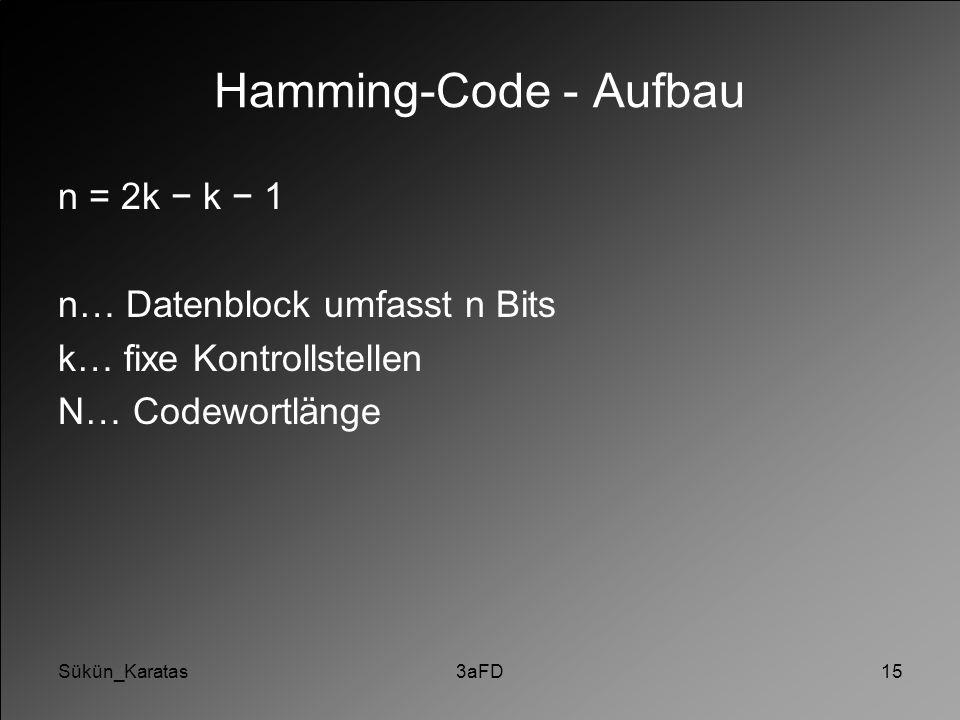 Hamming-Code - Aufbau n = 2k − k − 1 n… Datenblock umfasst n Bits