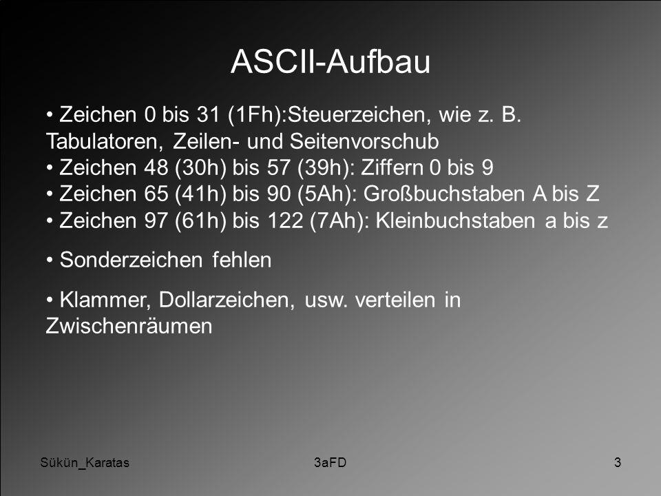 Sükün_Karatas ASCII-Aufbau. Zeichen 0 bis 31 (1Fh):Steuerzeichen, wie z. B. Tabulatoren, Zeilen- und Seitenvorschub.