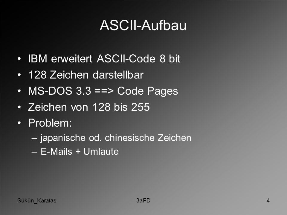ASCII-Aufbau IBM erweitert ASCII-Code 8 bit 128 Zeichen darstellbar