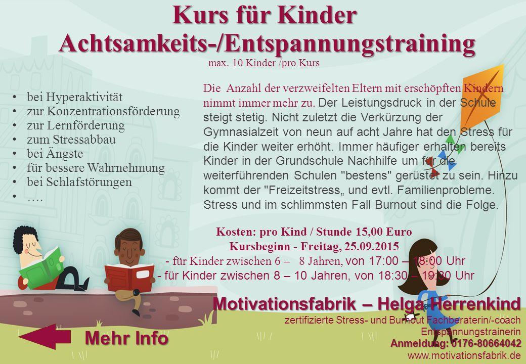 Kurs für Kinder Achtsamkeits-/Entspannungstraining max
