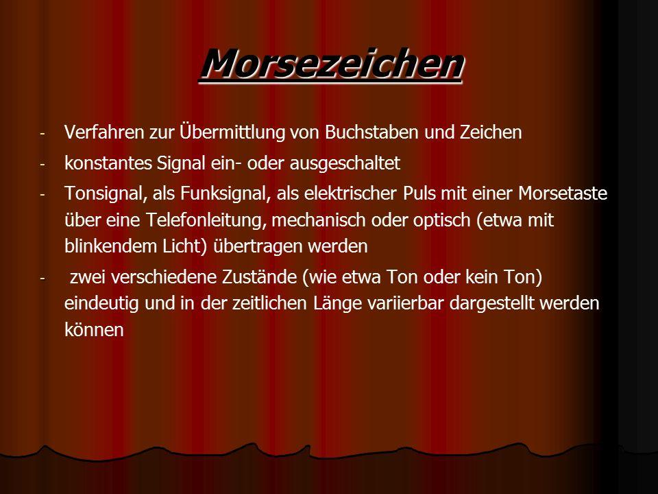 Morsezeichen Verfahren zur Übermittlung von Buchstaben und Zeichen