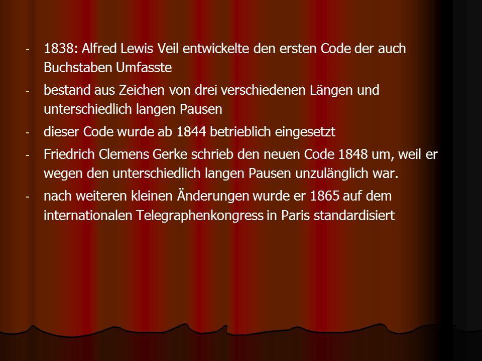 1838: Alfred Lewis Veil entwickelte den ersten Code der auch Buchstaben Umfasste