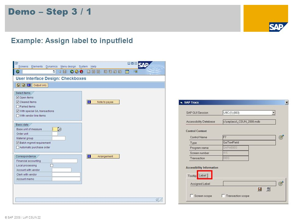 Demo – Step 3 / 1 Example: Assign label to inputfield