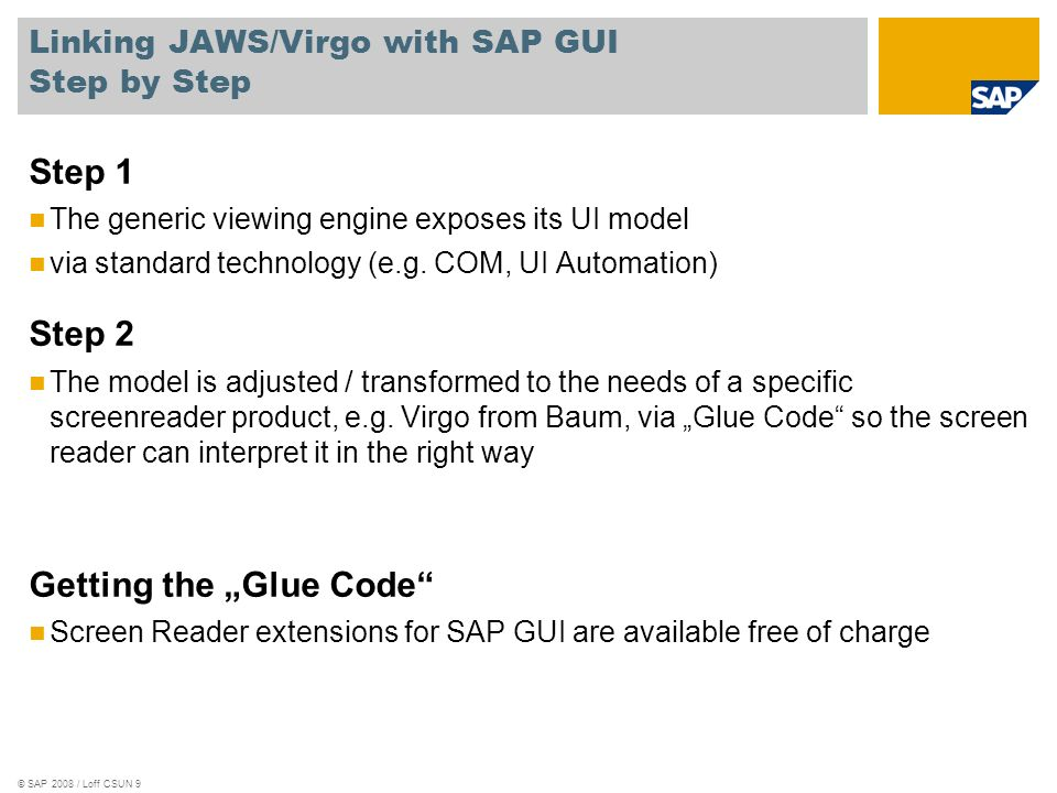 Linking JAWS/Virgo with SAP GUI Step by Step