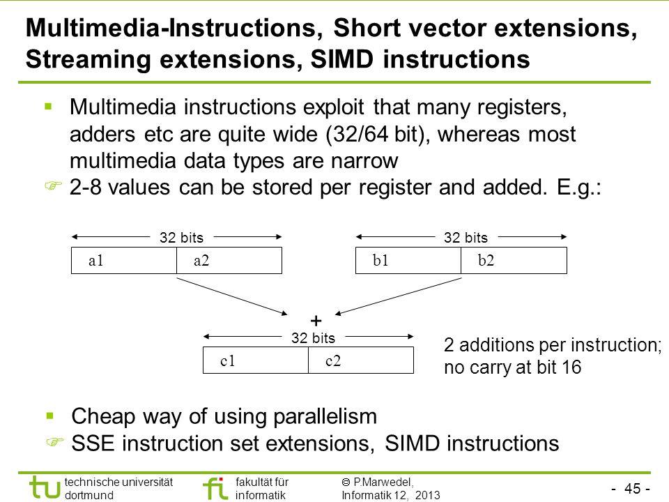 Multimedia-Instructions, Short vector extensions, Streaming extensions, SIMD instructions