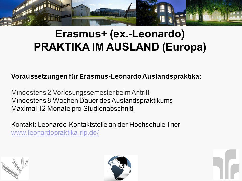 Erasmus+ (ex.-Leonardo) PRAKTIKA IM AUSLAND (Europa)