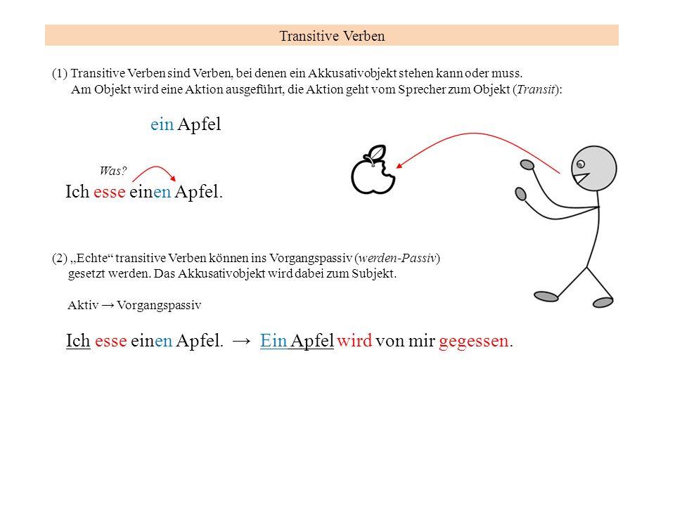 Ich esse einen Apfel. → Ein Apfel wird von mir gegessen.