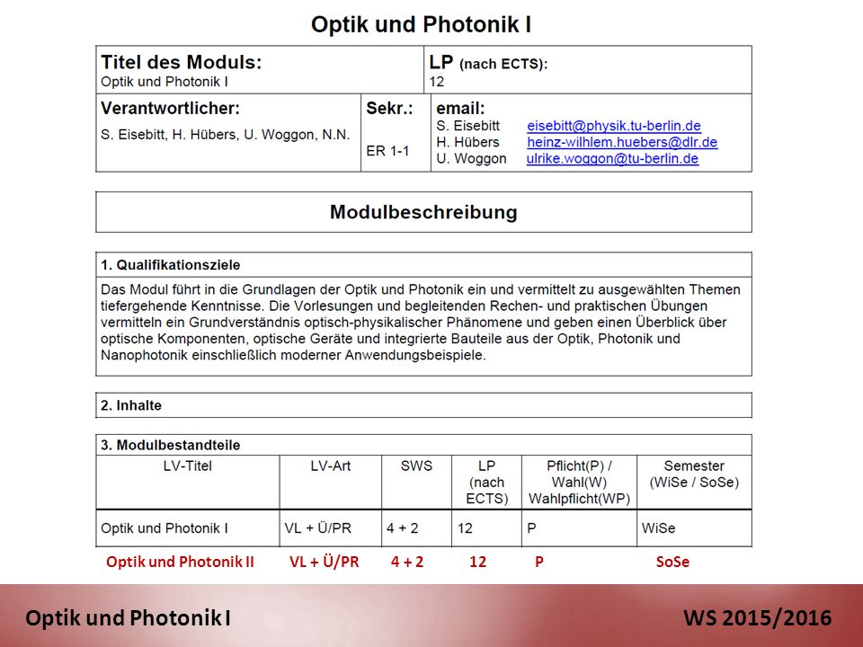 Optik und Photonik I WS 2015/2016