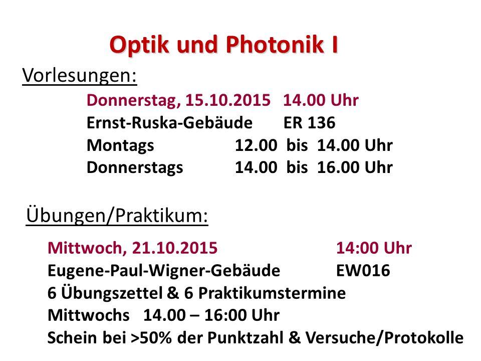 Optik und Photonik I Vorlesungen: Übungen/Praktikum: