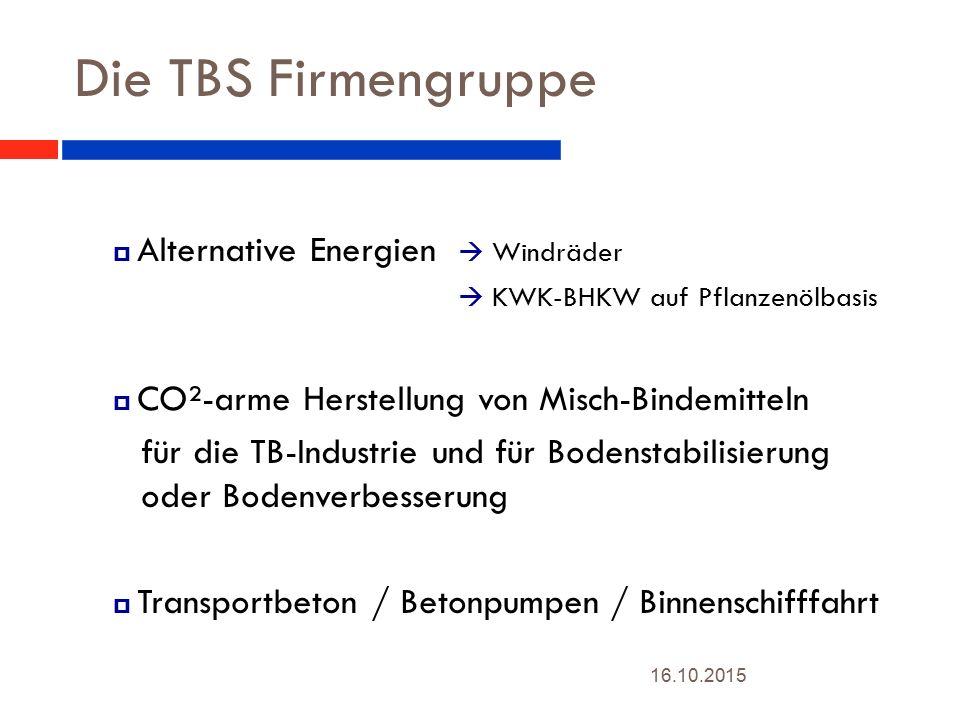 Die TBS Firmengruppe  Alternative Energien  Windräder.  KWK-BHKW auf Pflanzenölbasis.  CO²-arme Herstellung von Misch-Bindemitteln.