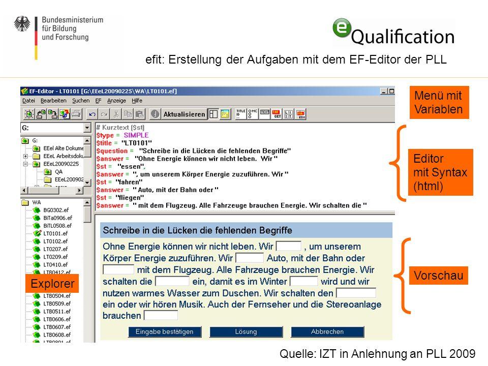 efit: Erstellung der Aufgaben mit dem EF-Editor der PLL