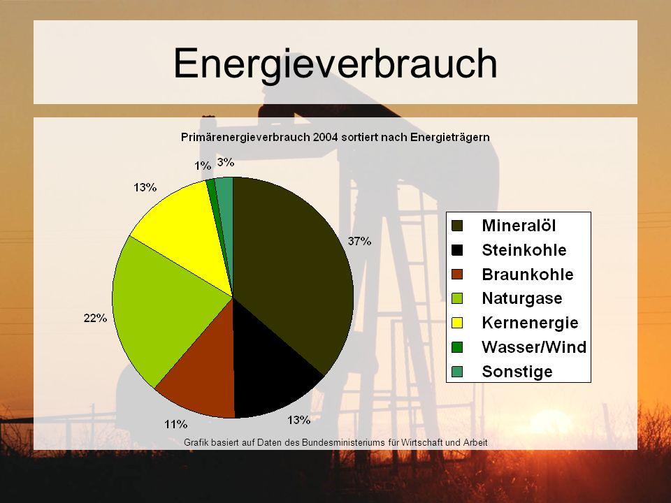 Energieverbrauch Grafik basiert auf Daten des Bundesministeriums für Wirtschaft und Arbeit