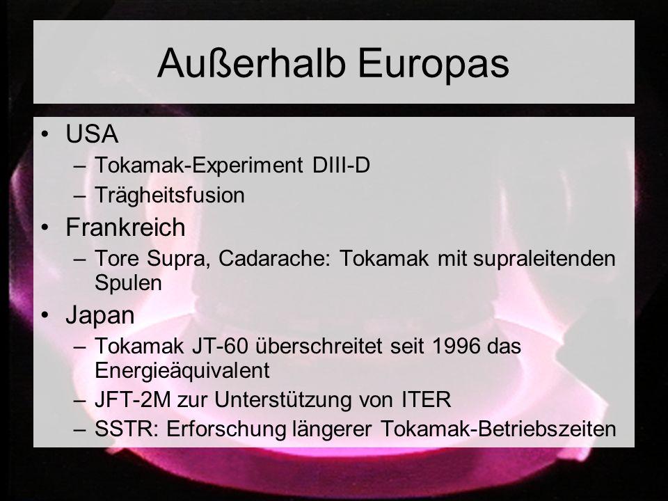 Außerhalb Europas USA Frankreich Japan Tokamak-Experiment DIII-D