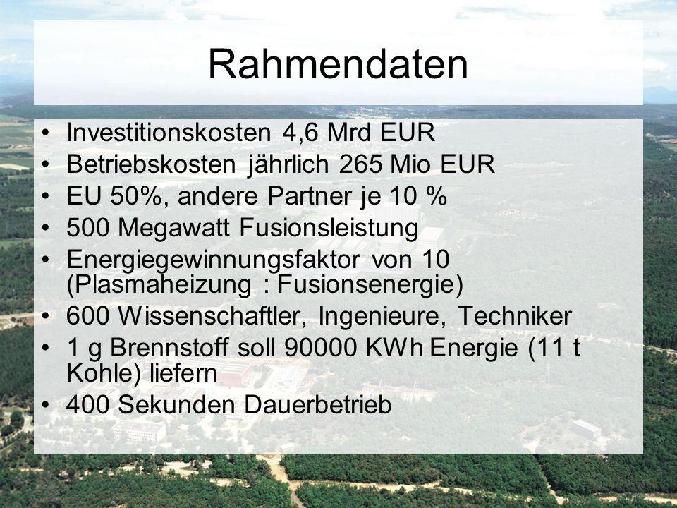 Rahmendaten Investitionskosten 4,6 Mrd EUR
