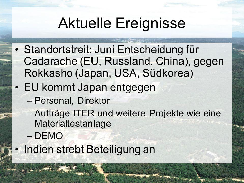 Aktuelle Ereignisse Standortstreit: Juni Entscheidung für Cadarache (EU, Russland, China), gegen Rokkasho (Japan, USA, Südkorea)