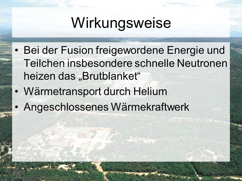 """Wirkungsweise Bei der Fusion freigewordene Energie und Teilchen insbesondere schnelle Neutronen heizen das """"Brutblanket"""