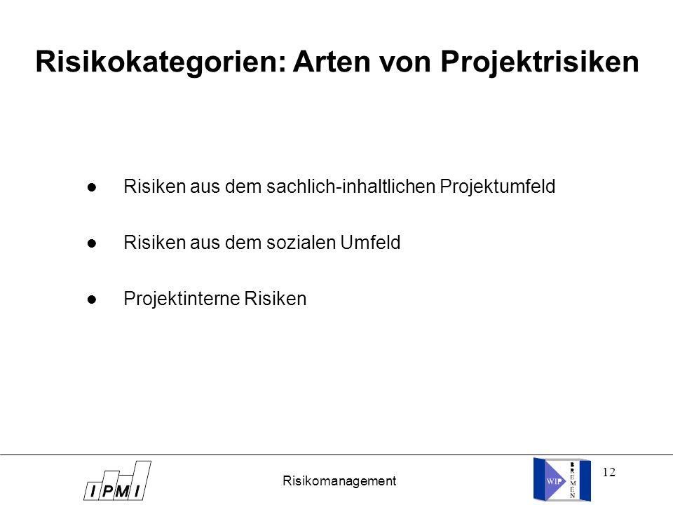 Risikokategorien: Arten von Projektrisiken