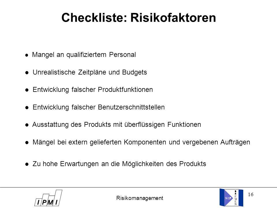 Checkliste: Risikofaktoren