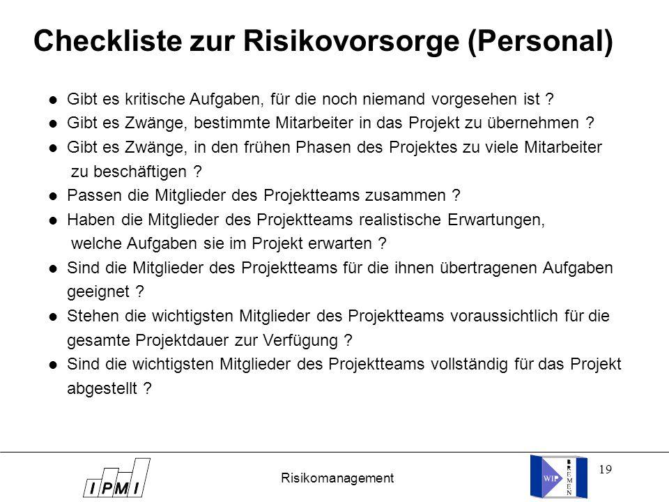 Checkliste zur Risikovorsorge (Personal)