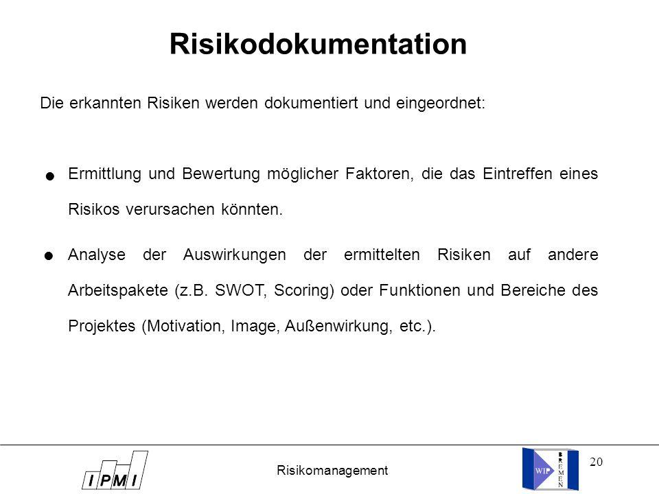 Risikodokumentation Die erkannten Risiken werden dokumentiert und eingeordnet: