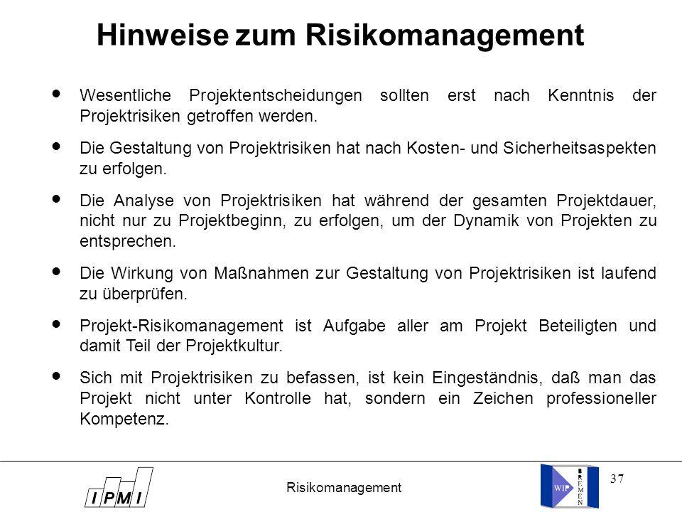 Hinweise zum Risikomanagement