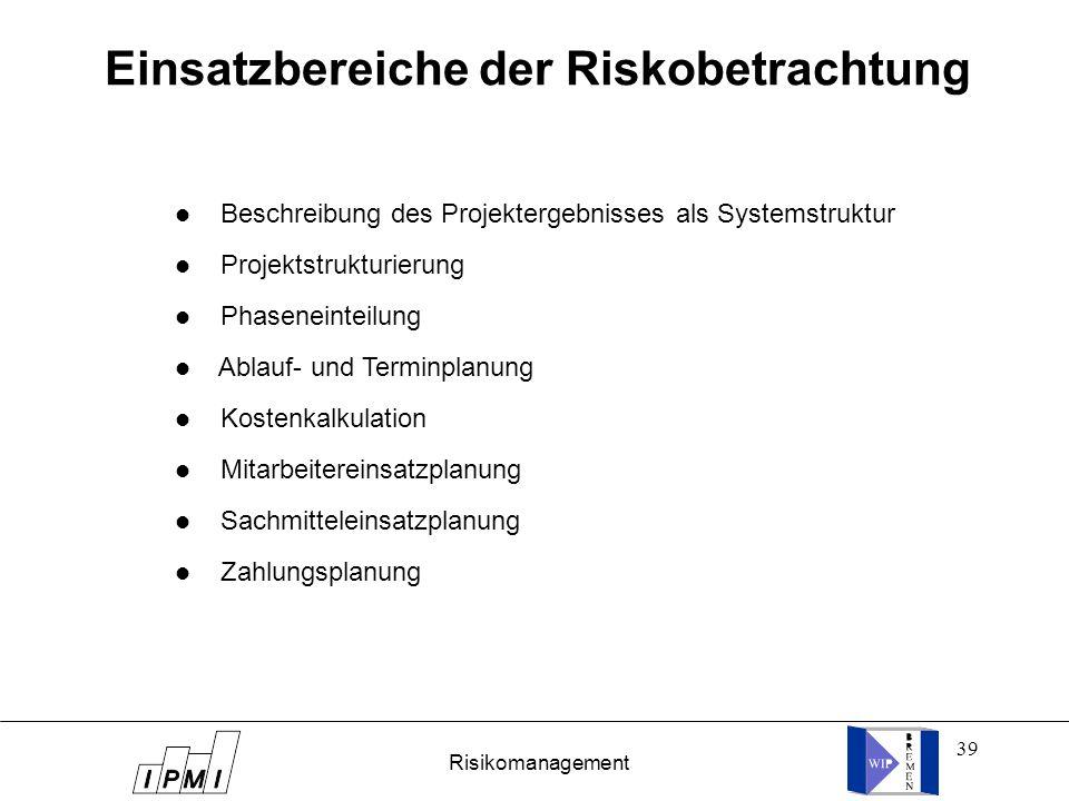 Einsatzbereiche der Riskobetrachtung