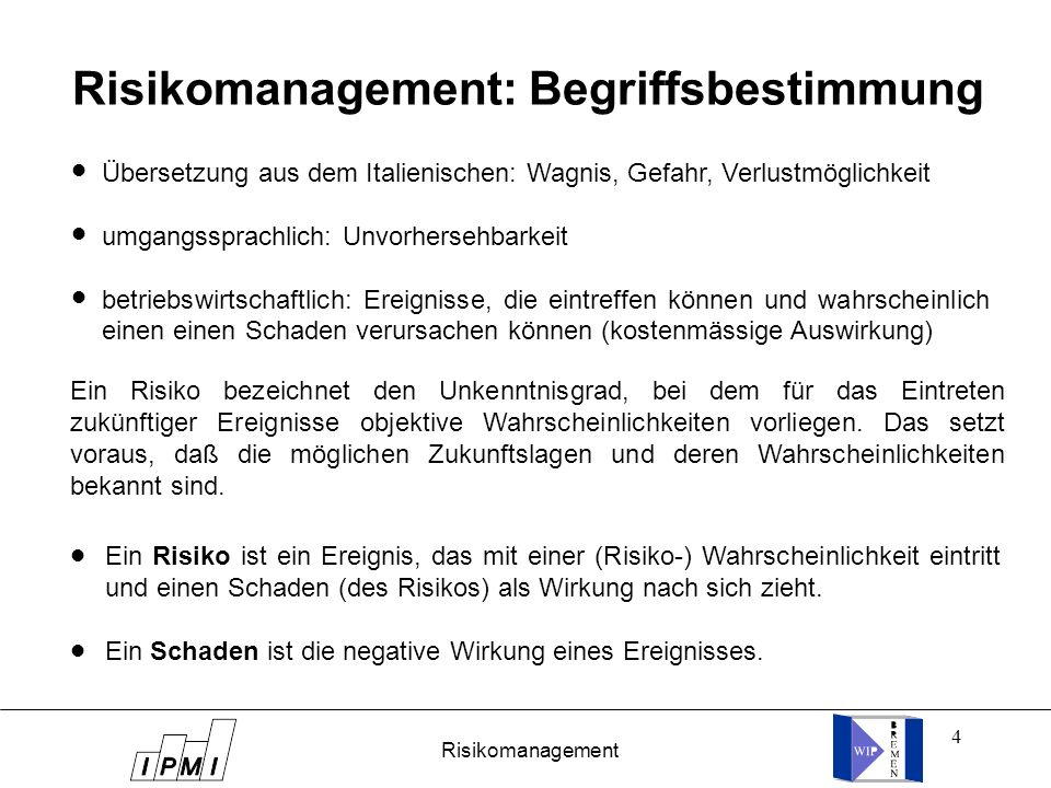 Risikomanagement: Begriffsbestimmung