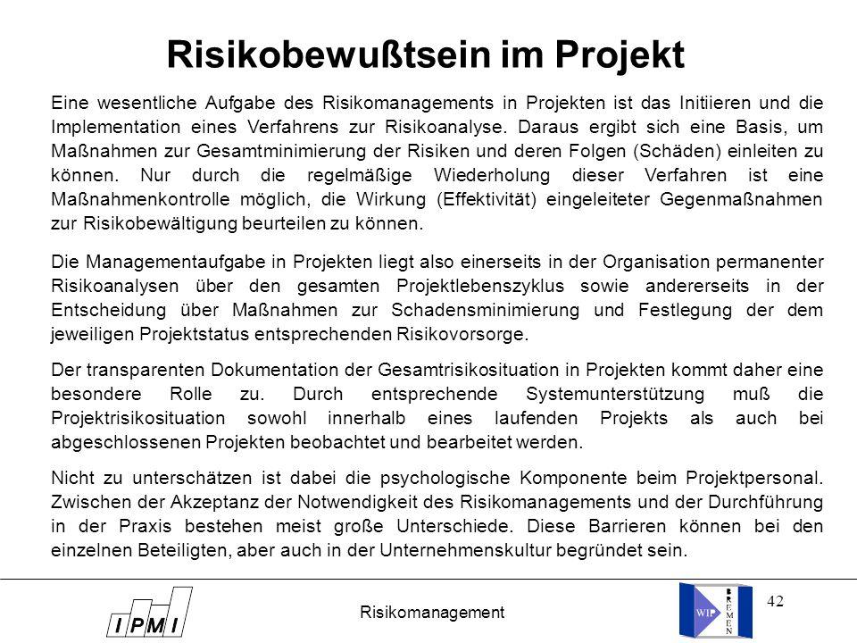 Risikobewußtsein im Projekt