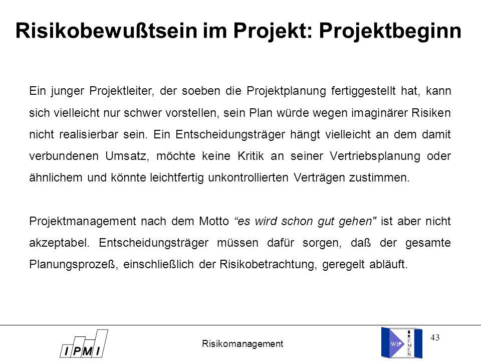 Risikobewußtsein im Projekt: Projektbeginn